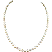 """Vintage 20"""" Cultured 6mm Pearl Necklace with 14k Gold Filled Clasp"""