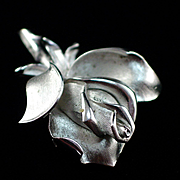 Finely Detailed Brushed Silver Tone Crown Trifari Rose Brooch Pin