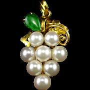 Fabulous 850  18k Cultured Pearl Cluster & Jade Pendant