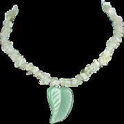 Retro Quartz Nugget Choker Necklace with Carved Jade Leaf