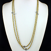 """Vintage 56"""" Long Gold Tone Chain with Open back Bezel Set Crystals"""