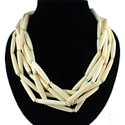 Retro Large Bone Tube Bead Torsade Statement Necklace