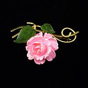 Beautiful Vintage VanDell Gold Filled Jade Flower Brooch Pin