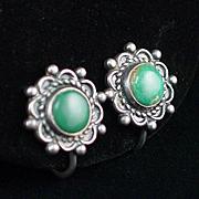 Early Sterling Turquoise Screw Back Earrings