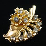 Signed Barclay Rhinestone Leaf & Flower Brooch Pin