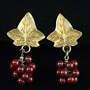 Unique Art Deco Grape Leaf and Garnet Dangling Berries Earrings