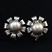 Art Deco Sterling Ball Screw Back Earrings