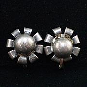 Art Deco Sterling Ball Screw Back Earrings