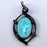 Very Old Antaya Sterling Blue Enamel Mary Pray for Us Charm