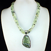 Large Vintage Double Strand Jay King DTR Sterling Moss Agate Pendant Necklace