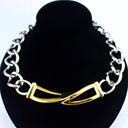 Large Bold Vintage Monet Gold and Silver Tone Necklace