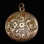 Victorian S.K. Merrill Gold Filled Floral Locket Pendant