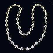 """Vintage 36"""" Long Open Back Bezel Set Crystal Necklace"""