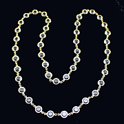 "Vintage 36"" Long Open Back Bezel Set Crystal Necklace"