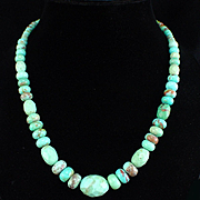 Vintage Jay King DTR Sterling Faceted Turquoise Graduated Necklace