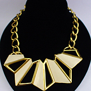 Large Bold Monet Cream Enamel Statement Necklace