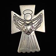 Beautiful Detailed Carolyn Pollack Sterling Angel Slide Pendant Brooch