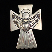 Beautiful Detailed Carolyn Pollack Sterling Angel Slide Pendant Brooch