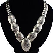 Large Designer Signed AM Sterling Designed Concho Necklace