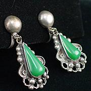Early Mexico Silver Green Onyx Dangle Screw Back Earrings