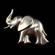 Large Taxco Mexico Sterling Elephant Slide Pendant Brooch