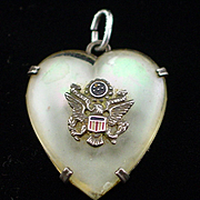 WW2 Era Sterling Army Sweetheart Pendant with Enamel Eagle on MOP