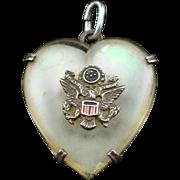 WW2 Era Sterling Army Sweetheart Pendant with Enamel Eagle on MOP