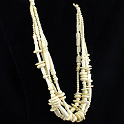 Large Bold Carved Bone 4 Strand Necklace