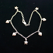 "Vintage 10"" Sterling Puffy Heart and Star Bracelet"