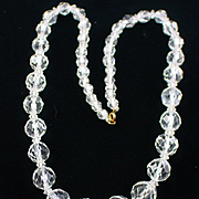 Beautiful Retro Graduated Faceted Crystal Necklace