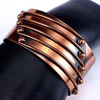 Large Wide Renoir Copper Cuff Bracelet