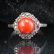 Art Deco Sterling Silver Coral Marcasite Ring Size 7