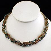 Unique Retro Woven Chain and Aurora Borealis Rhinestone Choker Necklace