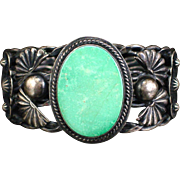 Large Old Pawn Sterling Navajo Bracelet with Turquoise and Crossed Arrows
