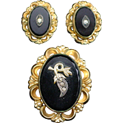Art Deco Gold Filled Onyx Pendant and Earrings with Diamond Chips