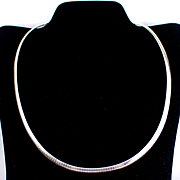 "Wide Vintage Italian Sterling 20""  Snake Chain Necklace"