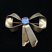 Retro Sterling Blue Rhinestone Bow Brooch Pin