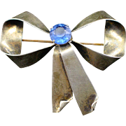 Retro Sterling Blue Rhinestone Bow Brooch Pin