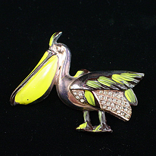 Large Art Deco Pot Metal Rhinestone and Enamel Pelican Brooch Pin