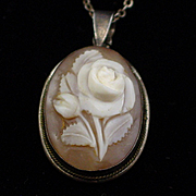 Vintage Giovanni APA Sterling Carved Shell Rose Pendant Necklace in Org. Box
