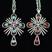 Unique Vintage Sterling Double Turquoise and Coral Cross Pendant Necklace