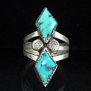 Large Vintage Santo Domingo L. Garcia Sterling Turquoise Ring Size 8-1/2