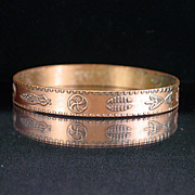 Bell Trading Post Solid Copper Bangle Bracelet with Native American Stampings
