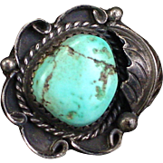 Vintage Susie Benally Navajo Sterling Turquoise Ring Size 6-1/2