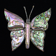 Early Mexican Sterling Butterfly with Abalone Brooch Pin