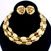 Vintage Germany Triple Strand Caramel & Golden Aurora Borealis Glass Necklace & Earrings