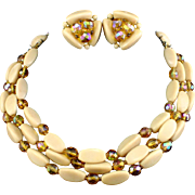 Vintage Germany Triple Strand Caramel & Golden Aurora Borealis Glass Necklace & Earrings
