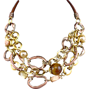 Retro Three Strand Gold Tone with Brown & White Glass Beads Statement Necklace