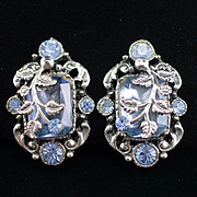 Stunning Large Vintage Sky Blue Rhinestone and Vine Clip Back  Earrings