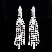 Vintage Long Glitzy Dangle Rhinestone Earrings with Clip Backs